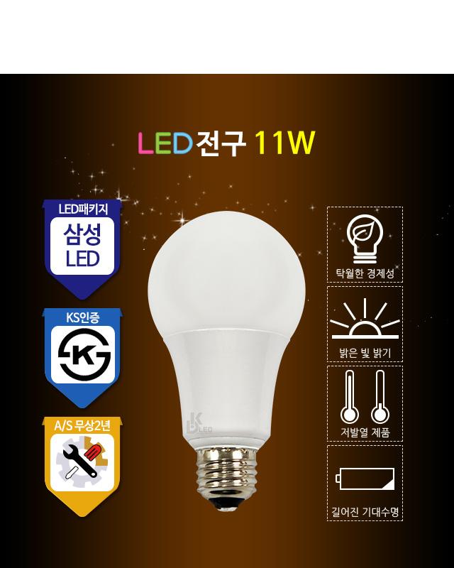 LED전구 11W 5700K LED램프 삼파장전구 대체 NS-2812 대경엘이디