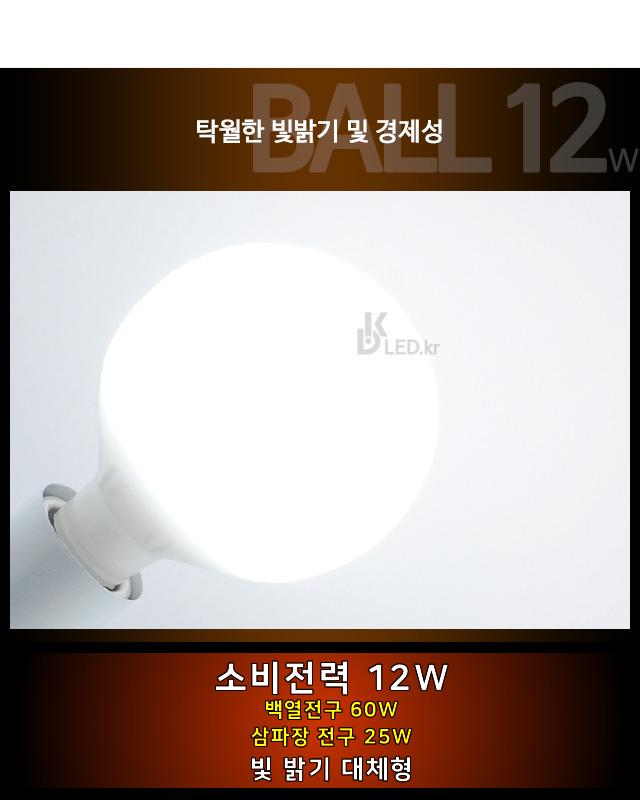 LED램프 볼전구 12W 주광색 백열전구 대체 GN-3468 지니조명