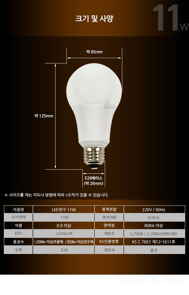 LED전구교체 11W 전구색 백열전구 대체 GN-3412 지니조명