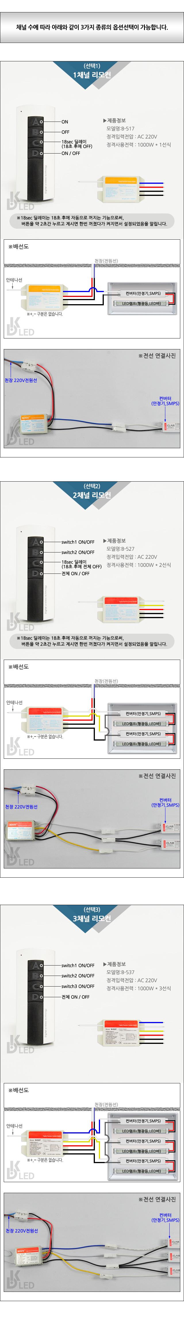 아파트거실등 조명스위치 무선 리모콘 벤트 3채널 DK-2691 대경엘이디
